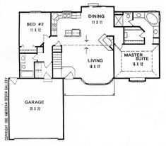 This inviting ranch style home with a small footprint (House Plan has over 1240 sq ft of living space. The one story floor plan includes 2 bedrooms. 2 Bedroom House Plans, Ranch House Plans, Small House Floor Plans, New House Plans, 1200 Sq Ft House, Ranch Style Homes, Bungalow Homes, Garage House, Car Garage