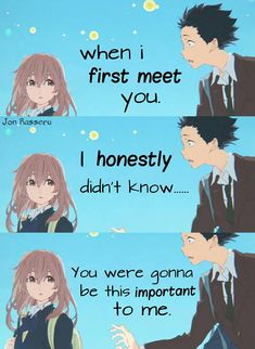 Anime: Koe no katachi Sad Anime Quotes, Manga Quotes, Anime Films, Anime Characters, A Silent Voice, The Voice, Kyoto Animation, Anime Love Couple, Anime People