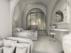 """""""White Cave Suite"""", Karterados SantoriniKarterados, Santorini2019 - 2020PrivateWork in progress204 m2When we first visited this property, located in the traditional village of Karterados, on Santorini island, all we found was two abandoned underground caves and two derelict buildings, no larger than 16 m2 each. Each cave had a unique façade, as they had been constructed during different time periods. The main design idea focused on highlighting every unique feature of the already existing Villa Design, House Design, Greece Design, Resort Interior, Derelict Buildings, Hotel Architecture, One Bedroom Apartment, Design Awards, Interior Design"""
