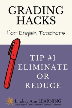 The first in a series about grading and assessment for English teachers, this grading hack will help you to focus on what is essential.  Free self-reflection workbook available for download. #english #ela