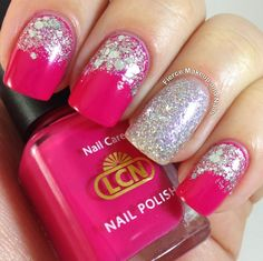 half moon with solid color on one finger...cute for short or long nails