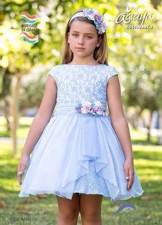 Vestido niña ceremonia ARTESANIA AMAYA de organza modelo 97744