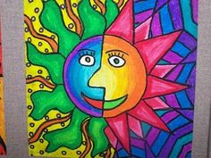 Sun Designs - warm and cool colors, line, pattern - paint, oil pastel or crayon?