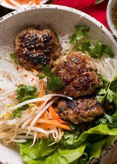 Overhead photo of Bun Cha - Vietnamese Meatballs noodle bowls, ready to be eaten Pork Recipes, Asian Recipes, Cooking Recipes, Healthy Recipes, Ethnic Recipes, Noodle Recipes, Game Recipes, French Recipes, Mexican Recipes