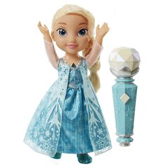 "Use the real working microphone to start singing the FULL-LENGTH movie version of ""Let it Go"" Place the microphone in front of Elsa and she'll pick up where you left off! Pass the mic back and forth t"