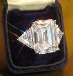 14K DIAMOND EMERALD  RING COCKTAIL ENGAGEMENT VINTAGE PASTE HUGE 18.75 CARATS