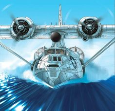 Boobs and Warbirds: the Art of Romain Hugault Amphibious Aircraft, Navy Aircraft, Ww2 Aircraft, Military Aircraft, Dirigible Steampunk, Float Plane, Aircraft Painting, Airplane Art, Flying Boat