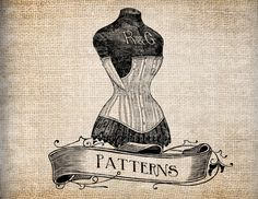 Antique Ornate Patterns Dress Form Mannequin Digital Download for Papercrafts, Transfer, Pillows, etc Burlap No. 7889. $1.00, via Etsy.