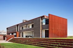 Materials were chosen not only for their workability, but also for their durability in the harsh coastal environment. Heavy gauge corten steel siding is zero maintenance in spite of being relentlessly sandblasted by the wind.  Cedar siding and screens are finished using a Victorian technique in which the iron sulfate in a blend of white vinegar and iron filings reacts with the tannins in wood, creating an ebony finish that penetrates through the material and will not require refinishing.