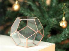 Little Geometric Terrarium / Dodecahedron / Handmade Glass Planter / Modern Planter for Indoor Gardening / Copper - Silver Terrarium
