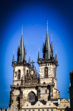 Prague, Czech Republic, Old Town, building ornaments, sculpture, Tower,  Tyn Church