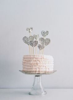 glitter hearts cake topper