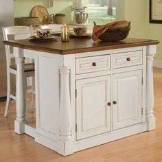 Shop for Home Styles Large Monarch Stationary Antique White Distressed Oak Kitchen Island Oak Top, Drop-leaf Breakfast Bar, Two Storage Drawers Cabinet Four Adjustable Shelves Two Matching Slat Back Stools online - Kitchen Island Cart With Seating, Kitchen Island With Granite Top, Portable Kitchen Island, Kitchen Islands, Primitive Kitchen, Country Kitchen, Country Primitive, Kitchen Furniture, Kitchen Decor