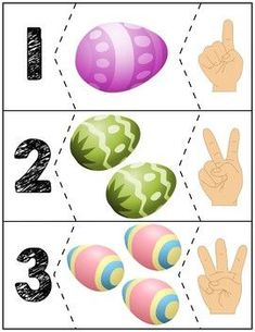 Teach counting skills with Easter Eggs! Great for teaching counting skills and number recognition for numbers Quick prep game great for math centers! Easter Activities, Spring Activities, Book Activities, Preschool Learning, Kindergarten Activities, Preschool Activities, Easter Art, Easter Crafts, Easter Eggs