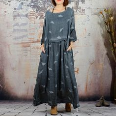 Women's Autumn Casual Dress Embroidered Linen
