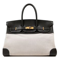 "Hermès Toile and Black Clemence 35 cm Birkin | Measurements: 14"" x 9"" x 7"" drop: 4"" 