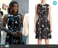 Daisy's black floral dress with white trim on Madam Secretary.  Outfit Details: http://wornontv.net/54010/ #MadamSecretary