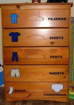 "Dresser labels for kids ... ""I can do it by myself!"" Great Idea of toddlers trying to become independent and dress themselves"