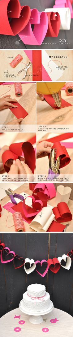ideas for diy paper crafts decoration heart garland Valentine Day Crafts, Valentine Decorations, Paper Decorations, Holiday Crafts, Paper Heart Garland, Diy Garland, Garlands, Diy And Crafts, Crafts For Kids