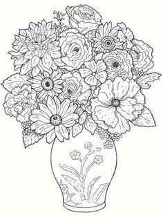 43 Best Sketches Of Flowers In A Vase Images Flower Drawings