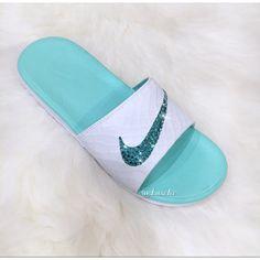 7589343cbcce3 Nike Benassi Solarsoft 2 white artisan Teal Slides Flip Flops Customized  With Swarovski Crystals.