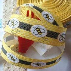 "1"" 25mm Grosgrain Ribbon Printed Cute Bee Yellow 2 yards |  **********Bought********* Cute Bee, Grosgrain Ribbon, Ribbons, Yards, Baby Shower, Printed, Yellow, Happy, Ebay"