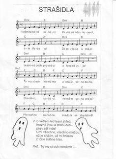 strašidla: Music Do, Teaching Music, Kids Songs, Halloween, School Classroom, Johnny Depp, Music Notes, Sheet Music, Children