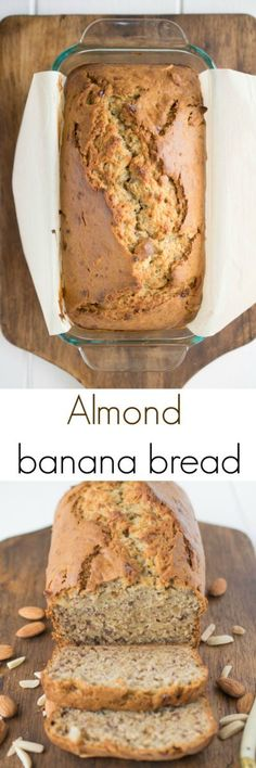 Almond banana bread. My regular recipe is taken to a lighter and moister level with the use of new Dream Ultimate Almond milk. #almond #bananabread