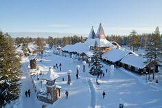 Santa Claus' home town Rovaniemi in Lapland Finland by air - Father Chri...