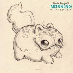 Fluffy bottom floaty kitty... #morningscribbles