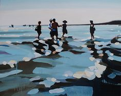 """Dusk"" oil on canvas by Elizabeth Lennie for her Solo Show at Crescent Hill Gallery Painting People, Gouache Painting, Art Graphique, Beach Scenes, Beach Art, Artist Art, Figurative Art, Strand, Illustration Art"