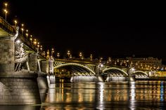 The lit up Margaret bridge in the heart of Budapest, Hungary. This photo earned first place in the Wiki Loves Monuments 2013 Hungarian Contest, and is competing in the International Contest. Budapest City, Budapest Hungary, Art Nouveau, Capital Of Hungary, Night City, City Break, Great Shots, Sydney Harbour Bridge, Places Ive Been