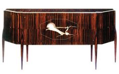 Sideboard in rosewood with a stylized chariot design. Emile Jacques Ruhlmann (1879-1933) was One of the top French designers.