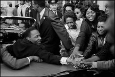 Dr. Martin Luther King Jr. being greeted on his return to the US after receiving the Nobel Peace Prize. Baltimore Maryland USA. October 31 1964. Leonard Freed.  Featured in Magnum Contact Sheets which opens today and is on until August 19 at The Cube Deutsche Börse Eschborn Germany.  A co-production of: Magnum Photos Forte di Bard and @thamesandhudson   #LeonardFreed/#MagnumPhotos