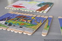 Homemade puzzles - line them up, glue it on, craft knife them apart