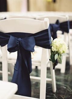 Navy Blue Fall Wedding Color Ideas: White bride gown and navy blue bridesmaid dresses, white wedding bouquets, grey suits for groom and groomsmen, navy wedding welcome sign… Wedding Chair Decorations, Wedding Chairs, Wedding Themes, Our Wedding, Wedding Ideas, Wedding Ceremony, Wedding Chair Covers, Dream Wedding, Ceremony Seating