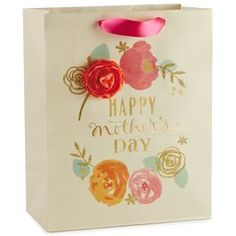"Pink, Orange and Gold Floral Mother's Day Large Gift Bag, 13"","