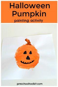 Halloween pumpkin painting activity with a homemade painting tool Halloween Activities, Halloween Kids, Halloween Pumpkins, Preschool Activities, A Pumpkin, Pumpkin Carving, Toddler Crafts, Crafts For Kids, Pumpkin Pictures
