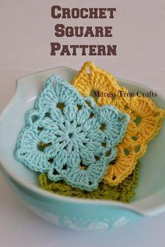 Mango Tree Crafts: Crochet Square Pattern and Photo Tutorial ༺✿ƬⱤღ  http://www.pinterest.com/teretegui/✿༻