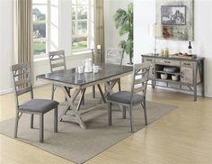 Melbourne Craftsman Antique Elm Grey Wood Fabric 5pc Dining Room Set