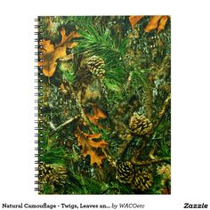 Natural Camouflage - Twigs, Leaves and Pinecones Notebook