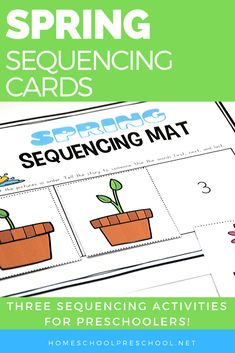 Don't miss these spring sequence cards that include puzzles, a sequencing mat, and storytelling page for 3 step sequencing cards. #springpreschoolactivities #sequencingactivities #sequencingpictures #homeschoolprek