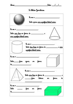 Sólidos geométricos Basic Math, Projects For Kids, Professor, Middle School, Worksheets, Language, Teaching, Data, Crafts