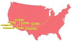 Mapa dos EUA mostra a Rota 66 (Departamento de Estado)