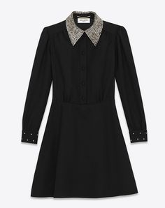 SAINT LAURENT SCHOOLGIRL MINI DRESS IN BLACK WOOL SABLÉ AND CLEAR CRYSTAL | YSL.COM ...