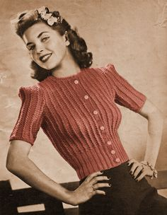 PDF 1940s Button Front Sweater with Puff Short door eStitches, $3.75