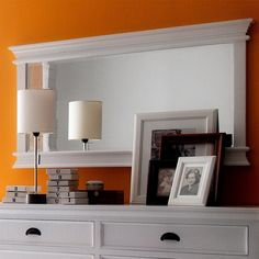 This is the perfect accessory over a dresser or small buffet. It adds instant dimension and visual space. Handcrafted with detailed crown moulding and a bevelled mirror. A durable painted finish completes the look. White Painted Furniture, Pine Furniture, Entryway Furniture, Nordic Living, Nordic Home, Country Style Furniture, Hygge Home, Beveled Glass, Scandinavian Design