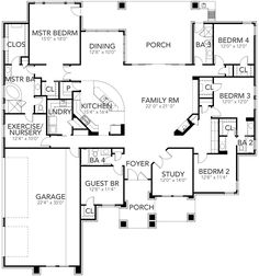 Efficient Modern 5 Bed House Plan with Nursery - floor plan - Main Level House Plans One Story, Dream House Plans, House Floor Plans, My Dream Home, 4 Bedroom House Plans, The Plan, How To Plan, Contemporary House Plans, Contemporary Style Homes