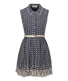 Look what I found on #zulily! Navy & White Kaleidoscope Embroidered Dress by Louche #zulilyfinds