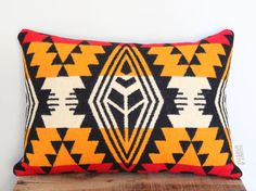 Geometric Wool Pillow // Tri-Gold Medium B / by ScoutandWhistle